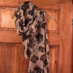 Black and Tan rose sheer scarf